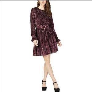 Michael Kors Scalloped Velvet Smocked-Cuff Dress M